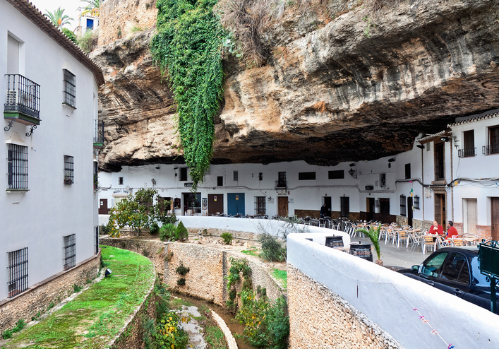 View of historic center in Setenil de las Bodegas, Spain