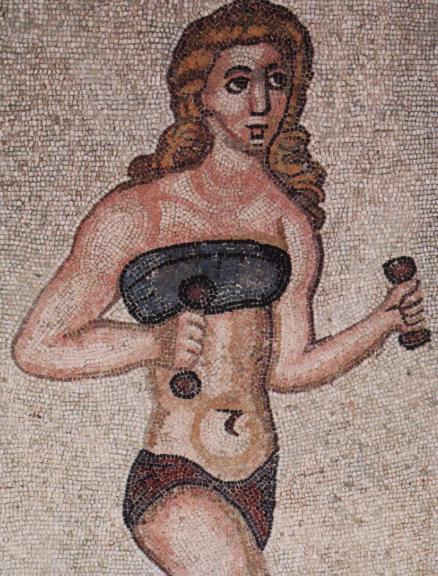 mosaïque Antiquité femme lingerie