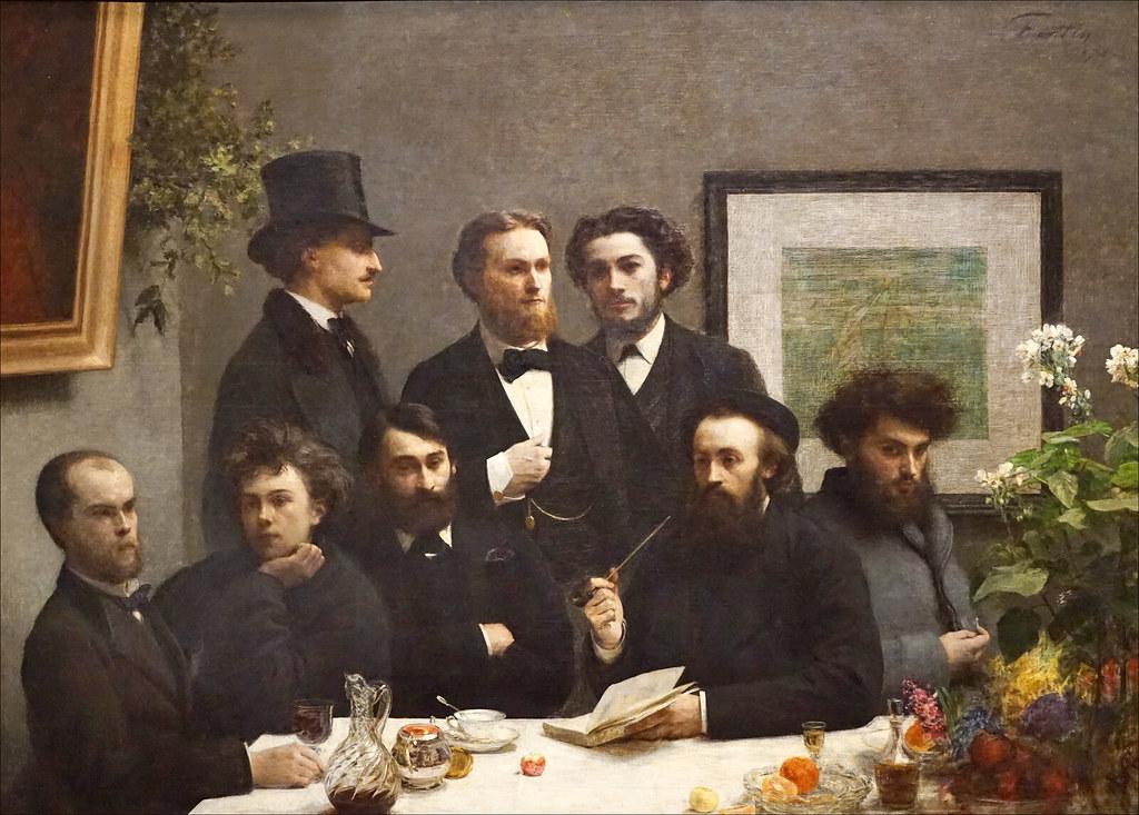 poètes rimbaud et verlaine à un salon parisien